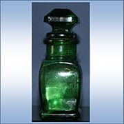 Vintage Emerald Green Smelling Salts Bottle with Stopper