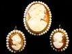 Cameo Earrings and Matching Brooch 14kt Italian Handcarved Shell