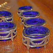 SALE Set Of Six Antique  Cobalt Blue & Sterling Salts.. with Six sterling spoons