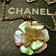 Chanel Necklace Mother of Pearl Signature piece Pendant & Chain