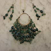 EMERALD Necklace & Chandelier Earrings 45 +carats  Vogue!