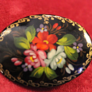 Russian Handpainted Brooch, Colorful Floral, 2 inches