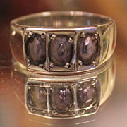 TANZANITE  Handmade Band Ring.. 3 Carats wide Band Sterling