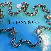 "Tiffany & Co. Sterling Hearts  35"" Chain Link Necklace FABULOUS"