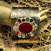 "Incredible Vintage  Ruby Bangle Cuff Bracelet 3"" Wide"