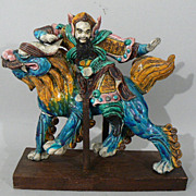 ANTIQUE Asian warrior figurine  riding a foo dragon /  horse