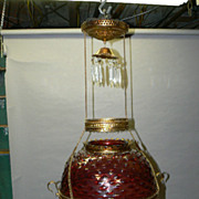 SALE Victorian hanging oil  lamp ruby hobnail glass shade and font original