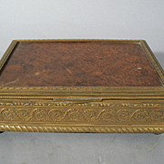 Antique French bronze box with  burl wood top