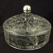 Antique sterling and crystal Cambridge  Rosepoint or Chantilly covered candy dish divided 3