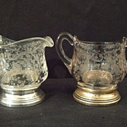 Antique sterling and crystal Cambridge Chantilly creamer and sugar small #4