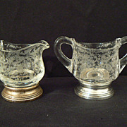 Antique sterling and crystal Cambridge Chantilly creamer and sugar small #3