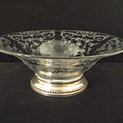 Antique sterling and crystal Cambridge Chantilly or Rosepoint serving bowl rare large size