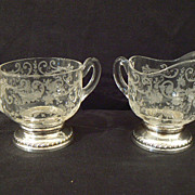 Antique sterling and crystal Cambridge Chantilly or Rosepoint creamer and sugar rare large #2