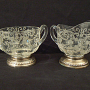 Antique sterling and crystal Cambridge Chantilly or Rosepoint  creamer and sugar rare large #1
