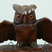 Antique wood carved owl Black Forest with  glass eyes