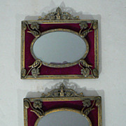 Antique frames oval in rectangles bronzed small Art Nouveau flowers velvet