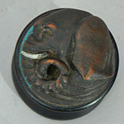 Antique Japanese asian carved wood elephant head box small round