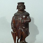 Antique Black Forest Carved Wood Figural dog humidor