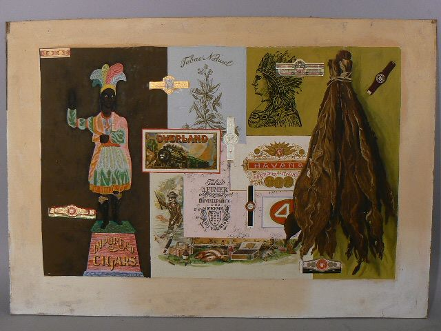 Antique advertising illustration painting mixed media cigar store indian