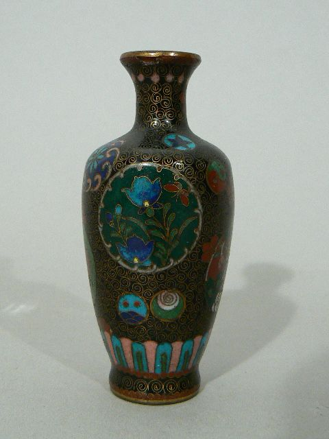 Antique Chinese Japanese cloisonne enameled vase fine quality miniature
