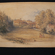 Antique painting water color landscape Thomas Baker English well listed 19th c