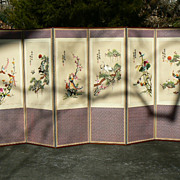 SOLD Vintage Asian Japanese room divider 6 panel folding screen embroidered silk