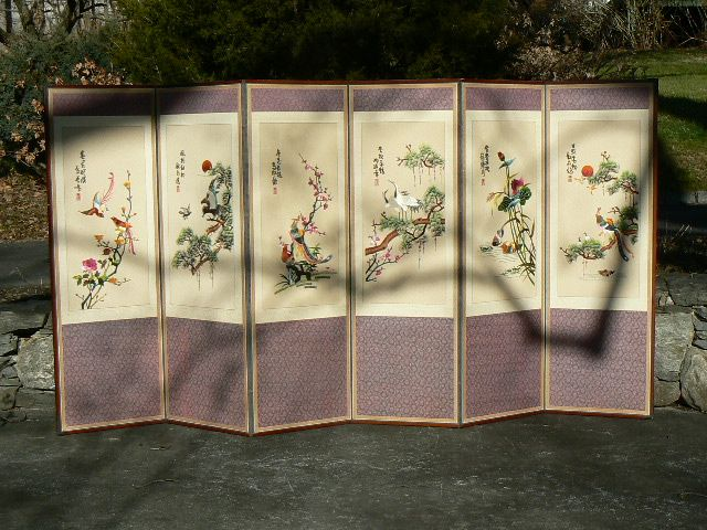 Vintage Asian Japanese room divider 6 panel folding screen embroidered silk