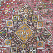 ANTIQUE RUG PERSIAN animals flat weave carpet great condition
