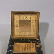 Fine Swiss 8 Day Art Deco Gilt Bronze Desk Clock w Marble Base & Calendar