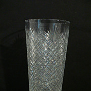HAWKES signed AMERICAN cut glass crystal and  sterling silver vase 12""