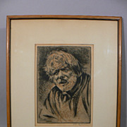 Vintage etching Elias  Grossman Jewish American artist