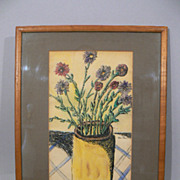 Vintage watercolor painting Ben-Zion Weinman bouquet Jewish artist