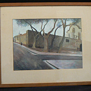 Antique watercolor gouache artist signed 1941 Mission church Italian Spanish