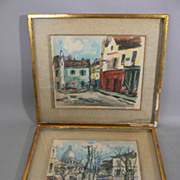 Vintage prints 2 of watercolors pencil signed artist DURIEZ French street scapes