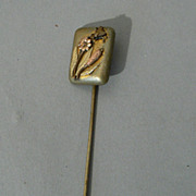 Vintage stick pin Japanese mixed metal fly and flower nice quality