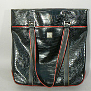 Diane Von Furstenberg designer handbag purse tote black and red large authentic