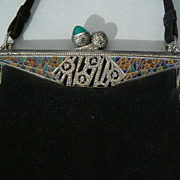 Antique Purse Art Deco Plique A Jour sterling silver marcasite chrysoprase RARE