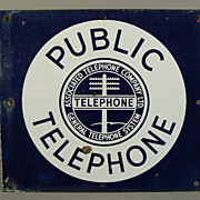 1930s Associated Telephone Co double sided porcelain advertising Sign