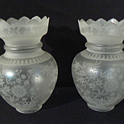 Victorian crown top acid etched glass gas or oil shades JAPANESQUE