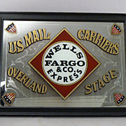 SOLD WELLS FARGO & Co Express etched reverse mirror Western Americana advertise sign