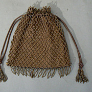 Vintage PURSE BEADED drawstring glass brown beads