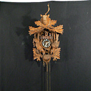 Vintage Black orest carved wood cuckoo clock with music box and dancing figures