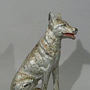 Antique figural cast iron German Shepherd dog doorstop