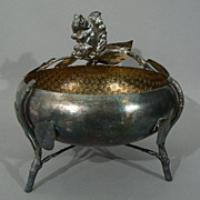 Victorian American figural silverplate  squirrel nut dish