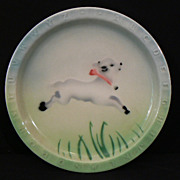 VINTAGE DINER CHINA Syracuse ABC Alphabelt childrens lamb plate air brushed