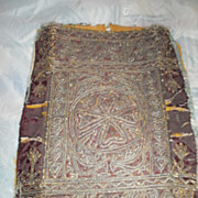 19th Century Albanian metallic thread on claret velvet panel .