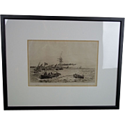 William L. Wyllie (1851-1931), Etching of A Rowing Skiff, Signed