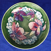 c1930 Small Footed Bowl By William Moorcroft In The Orchid Pattern 22cm