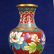 Chinese Circa 1850 Cloisonne Baluster Shaped Vase
