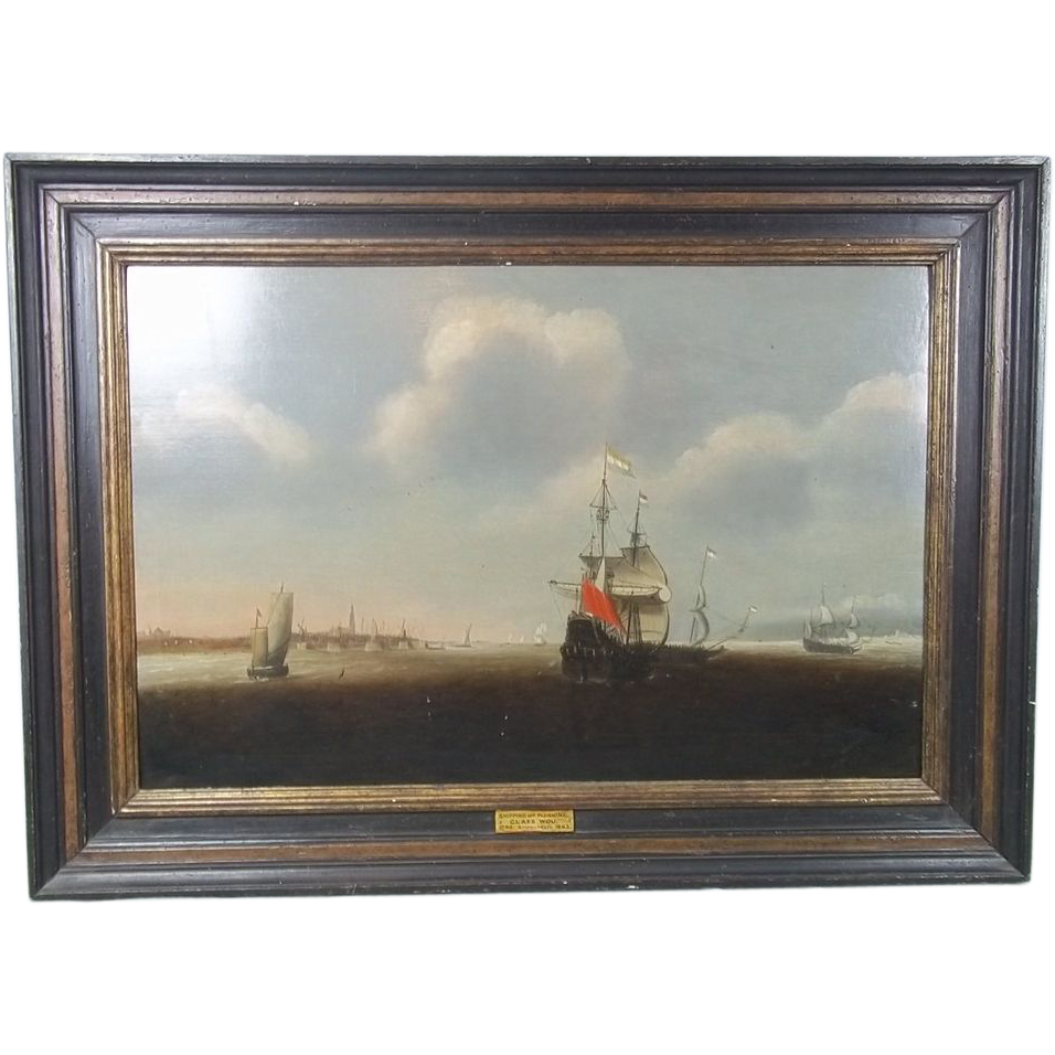 Oil On Board Of 'Shipping Off Flushing' Netherlands By Claes Claesz Wou, c.1630